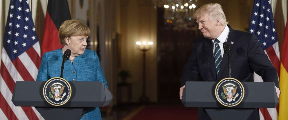 PHOTO: German Chancellor Angela Merkel and President Donald Trump hold a joint press conference in the East Room of the White House in Washington in this March 17, 2017 file photo.