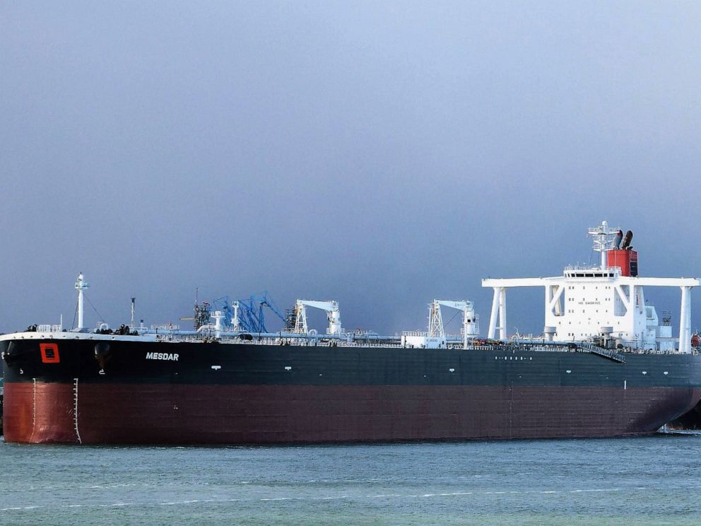 PHOTO: In this May 2, 2013 photo the Liberian-flagged oil tanker Mesdar is seen at an unknown location.