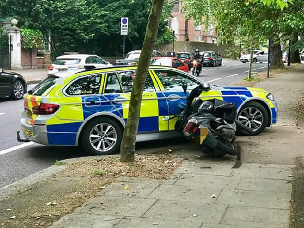 Dashcam footage reveals police using vehicles to knock moped thieves off bikes