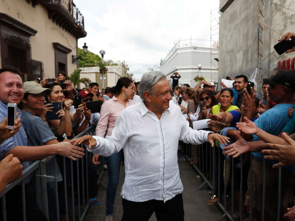 PHOTO: Mexicos President-elect Andres Manuel Lopez Obrador greets supporters as he kicks off a nationwide tour after his election in Mazatlan, Mexico, Sept. 16, 2018.