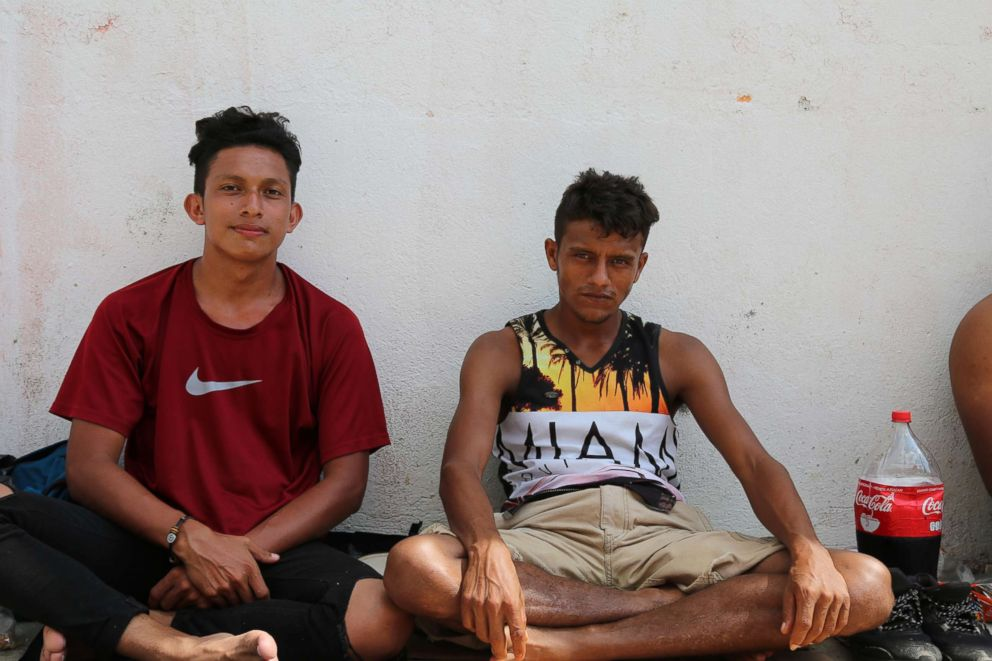 PHOTO: Jesus Zepeda, 22, and Jose Martin Barahona Vargas, 30, from San Pedro Sula, Honduras, both said that they joined the caravan after hearing about it on the news.