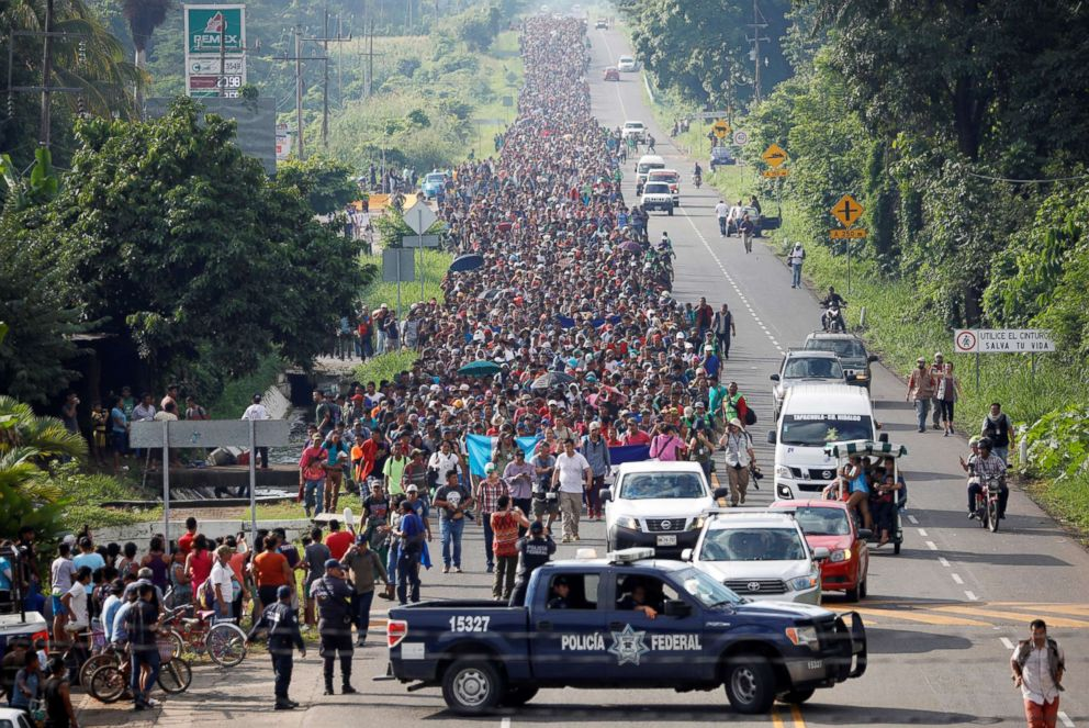 PHOTO: Central American migrants walk along the highway near the border with Guatemala, as they continue their journey trying to reach the U.S., in Tapachula, Mexico Oct. 21, 2018.