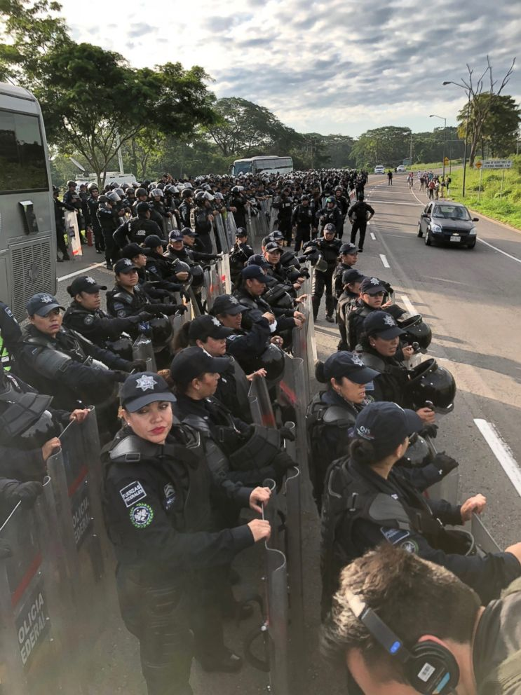 PHOTO: Riot police prepare in Mexico as a caravan of migrants heads toward the U.S. border, Oct. 21, 2018.
