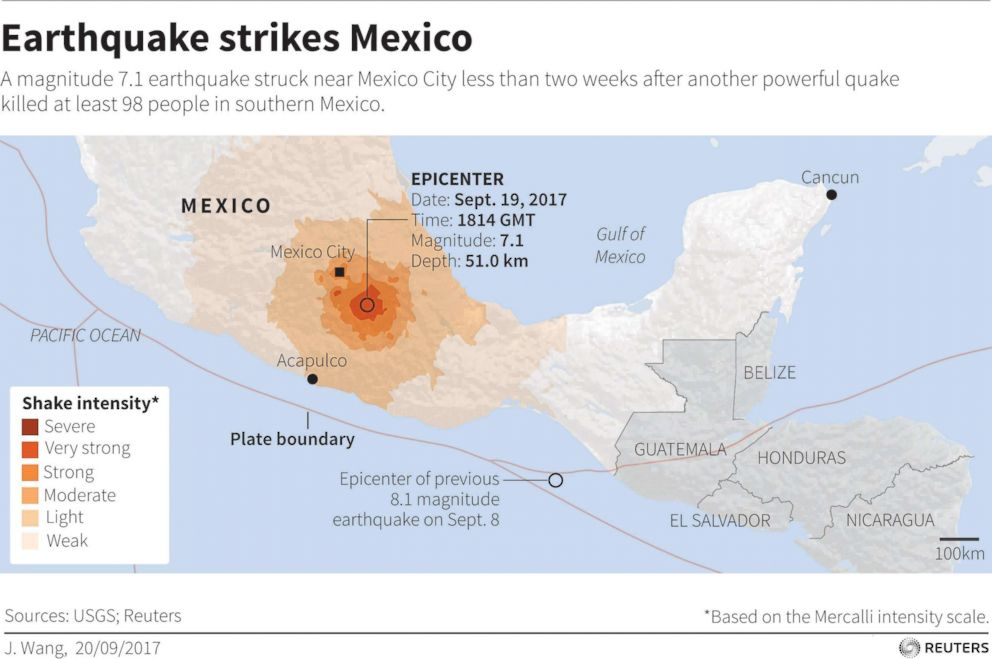 photo map locating earthquake that struck mexico on september 19 2017