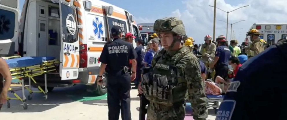 PHOTO: Emergency crews attend to the scene of an explosion at Playa del Carmen, Quintana Roo, Mexico, Feb. 21, 2018, in this still image obtained from social media video.