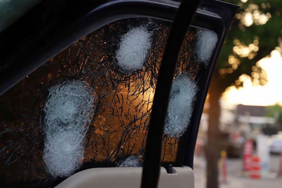 PHOTO: View of the bullet ridden window of a vehicle in a street of Culiacan, state of Sinaloa, Mexico, on Oct. 17, 2019.