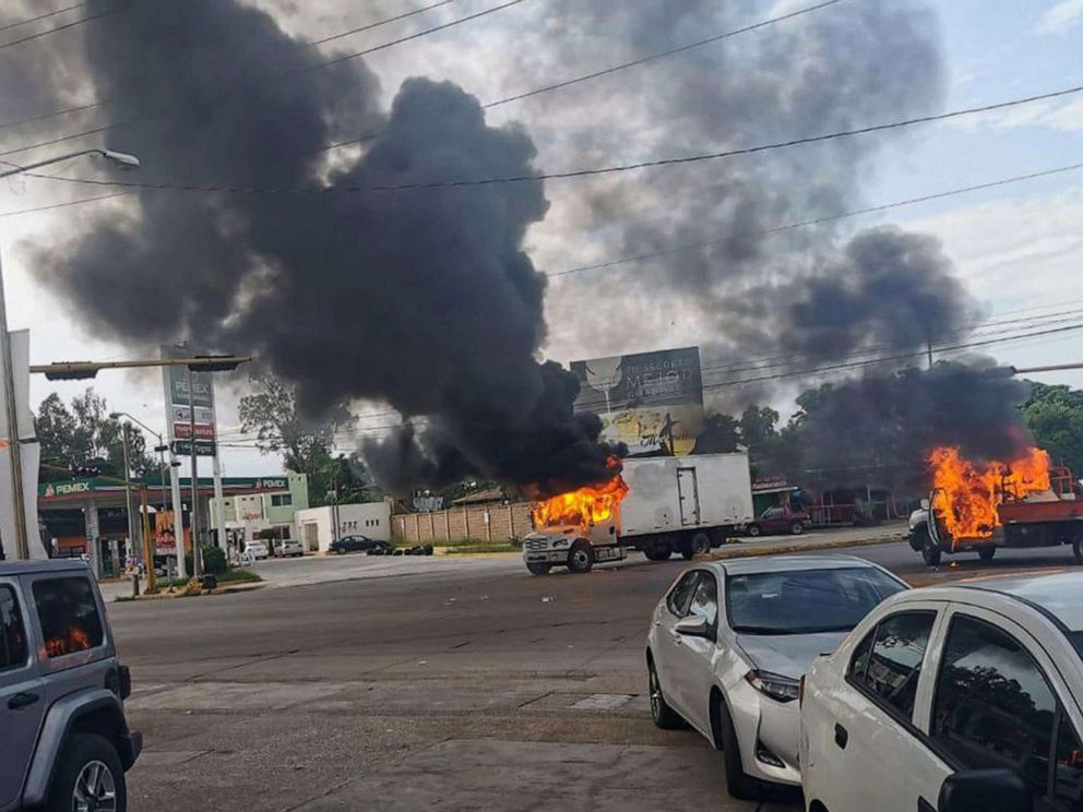 PHOTO: A view of vehicles on fire during a clash between armed gunmen and Federal police and military soldiers, in the streets of the city of Culiacan, Sinaloa state, Mexico, Oct. 17, 2019.