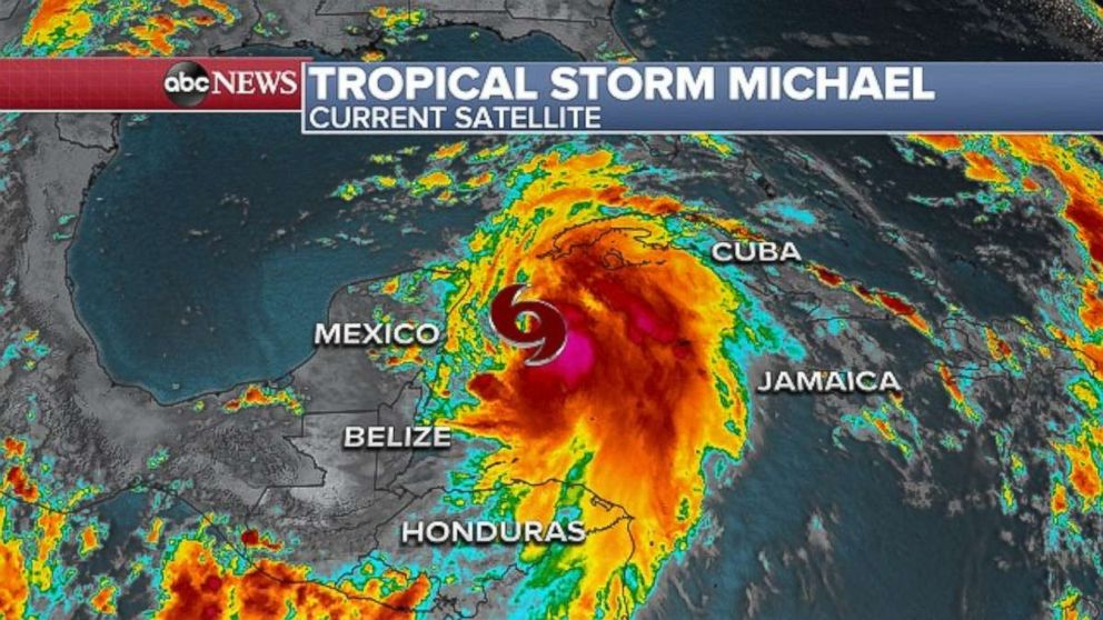 PHOTO: Tropical Storm Michael is moving into the Gulf of Mexico on Sunday evening.