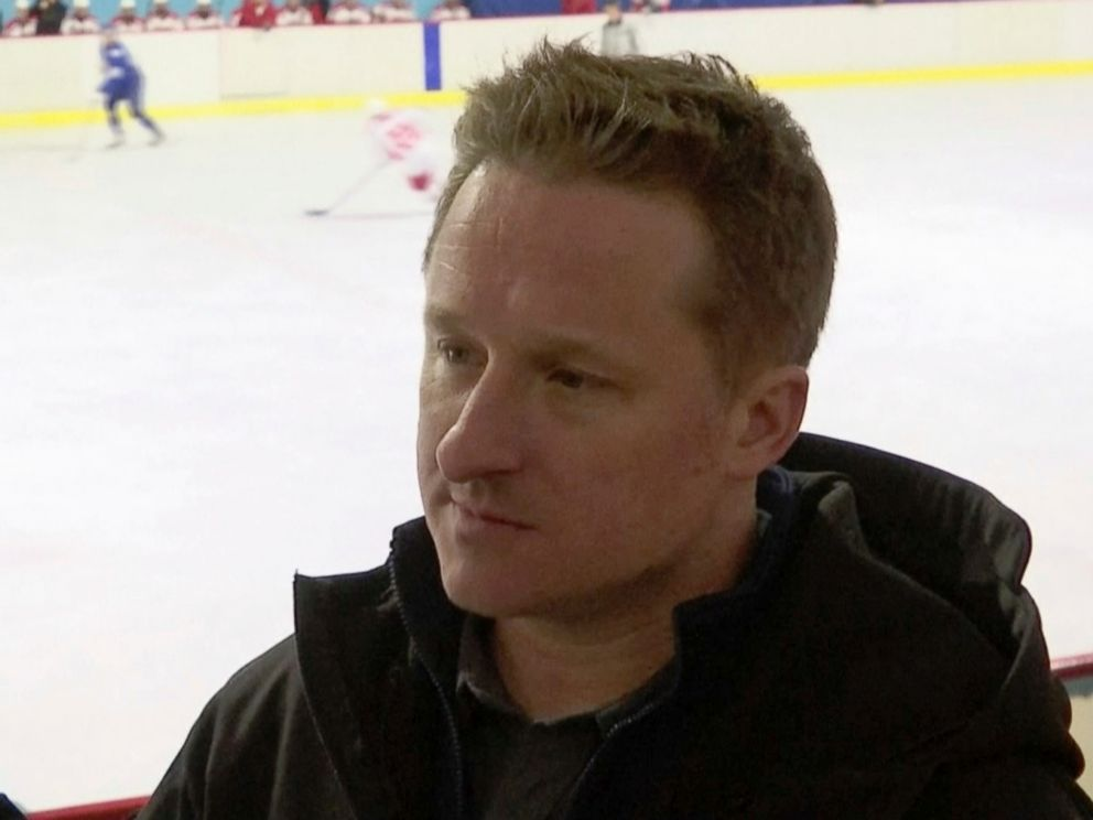 PHOTO: In this image made from video taken on March 11, 2016, entrepreneur Michael Spavor speaks during a friendly ice hockey match between visiting foreigners and North Korean players in Pyongyang, North Korea.