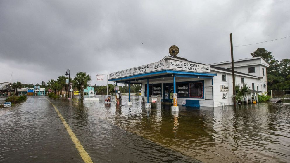 Bo Lynn's Market starts taking water in the town of Saint Marks as Hurricane Michael pushes the storm surge up the Wakulla and Saint Marks Rivers which come together here on Oct. 10, 2018 in Saint Marks, Fla.