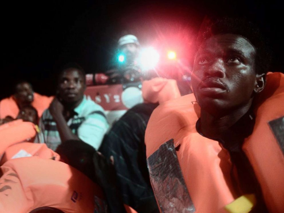 PHOTO: Migrants aboard SOS Mediterranees Aquarius ship after being rescued in the Mediterranean Sea, in a photo released by by French NGO SOS Mediterranee.