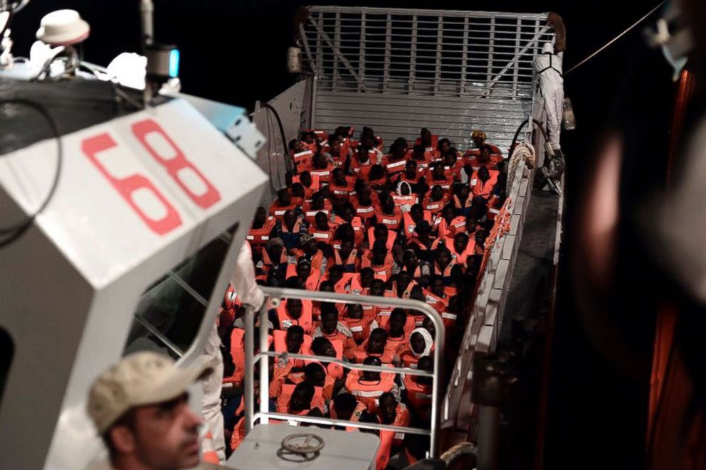 PHOTO: Migrants aboard SOS Mediterranees Aquarius ship after being rescued in the Mediterranean Sea, in a photo released by by French NGO SOS Mediterranee, on June 11, 2018. The ship, carrying more than 600 people, has been unable to dock.