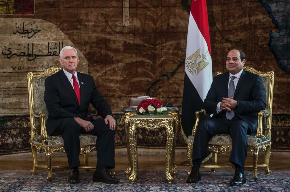PHOTO: Egyptian President Abdel Fattah al-Sisi (R) meets with Vice President Mike Pence (L) at the Presidential Palace in the capital Cairo on Jan. 20, 2018.
