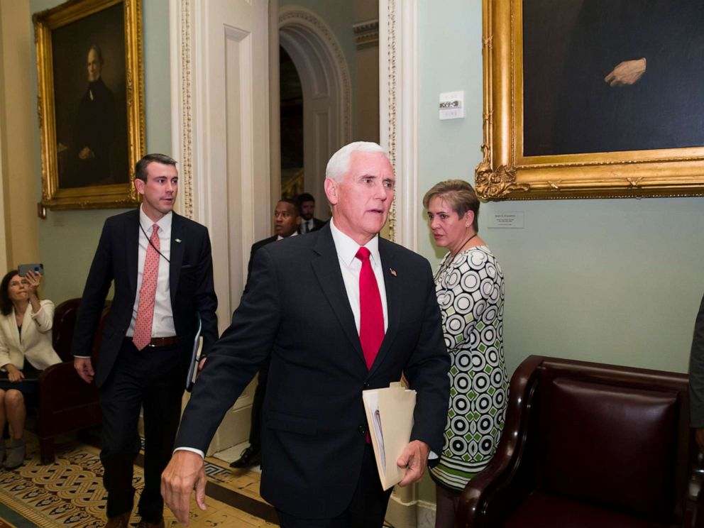 PHOTO: Vice President Mike Pence arrives for the Republican policy luncheon on Capitol Hill, May 7, 2019, in Washington.