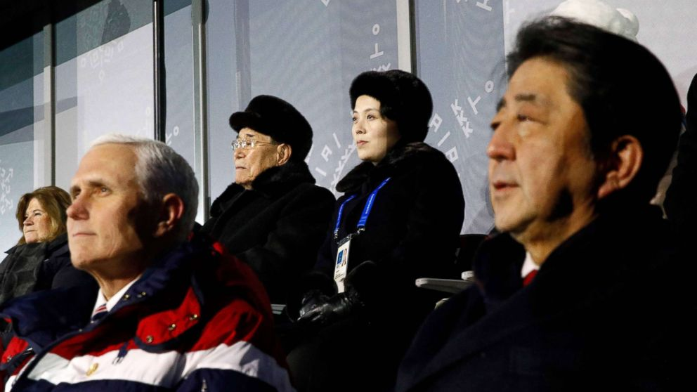 Vice President Mike Pence, Japan's Prime Minister Shinzo Abe (front R), North Korea's ceremonial head of state Kim Yong Nam (back 2nd L) and Kim Jong Un's sister Kim Yo Jong (back R) watch the opening ceremony of the Pyeongchang 2018 Winter Olympic Games Feb. 9, 2018.