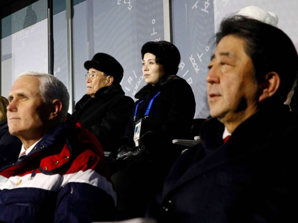 PHOTO: Vice President Mike Pence, Japans Prime Minister Shinzo Abe, North Koreas ceremonial head of state Kim Yong Nam (back L) and Kim Jong Uns sister Kim Yo Jong watch the opening ceremony of the Pyeongchang 2018 Winter Olympic Games Feb. 9, 2018.