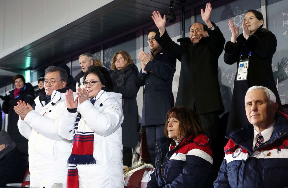 PHOTO: Vice President Mike Pence (R, front row) watches the joint march by the athletes of both North Korea and South Korea at the opening ceremony of the PyeongChang Olympics in PyeongChang, Feb. 9, 2018.