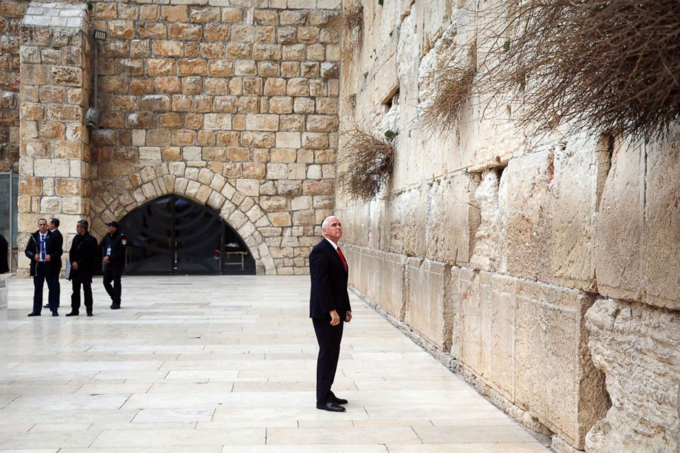PHOTO: Vice President Mike Pence visits the Western Wall in Jerusalems Old City, Jan. 23, 2018.