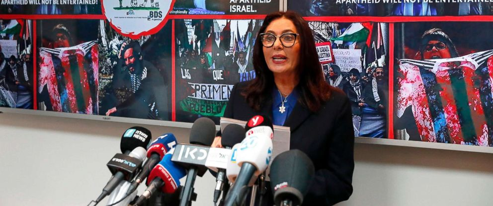 PHOTO: Israeli Culture and Sport Minister Miri Regev speaks during a press conference, June 6, 2018, in Tel Aviv, following the cancellation of the game between the Israeli and Argentina.