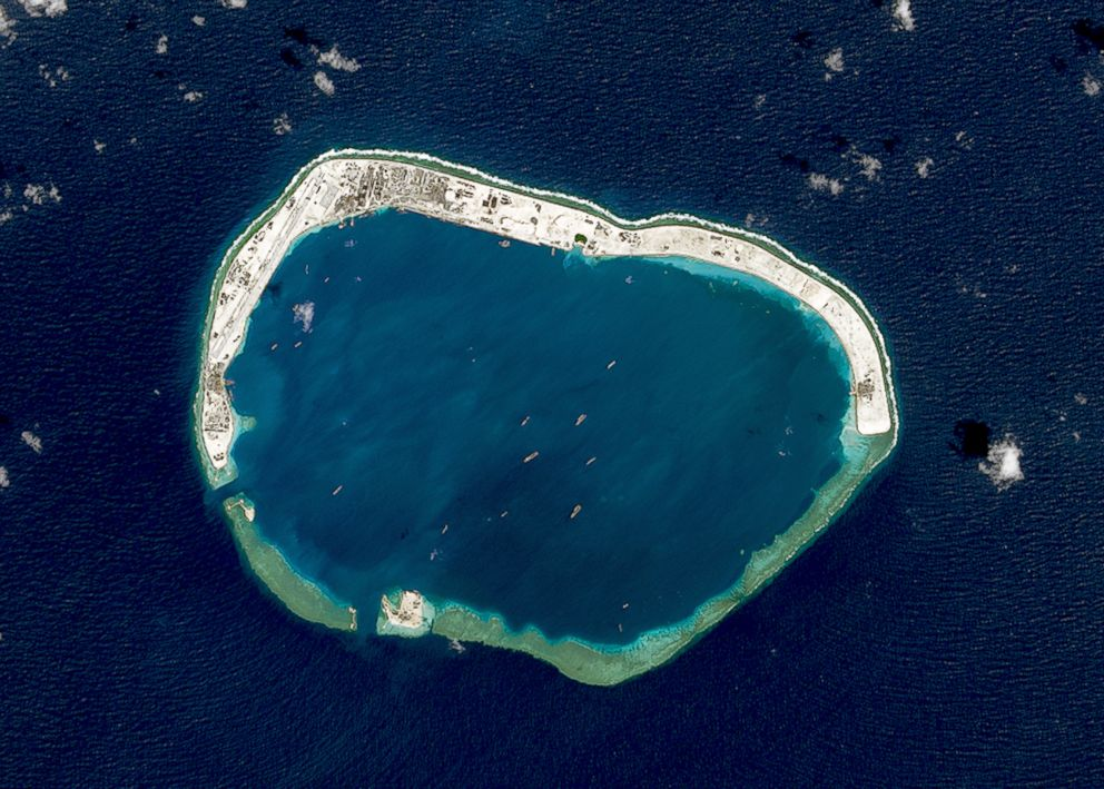PHOTO: A satellite image of Mischief Reef located in the Spratly Islands in the South China Sea on Feb. 18, 2016.