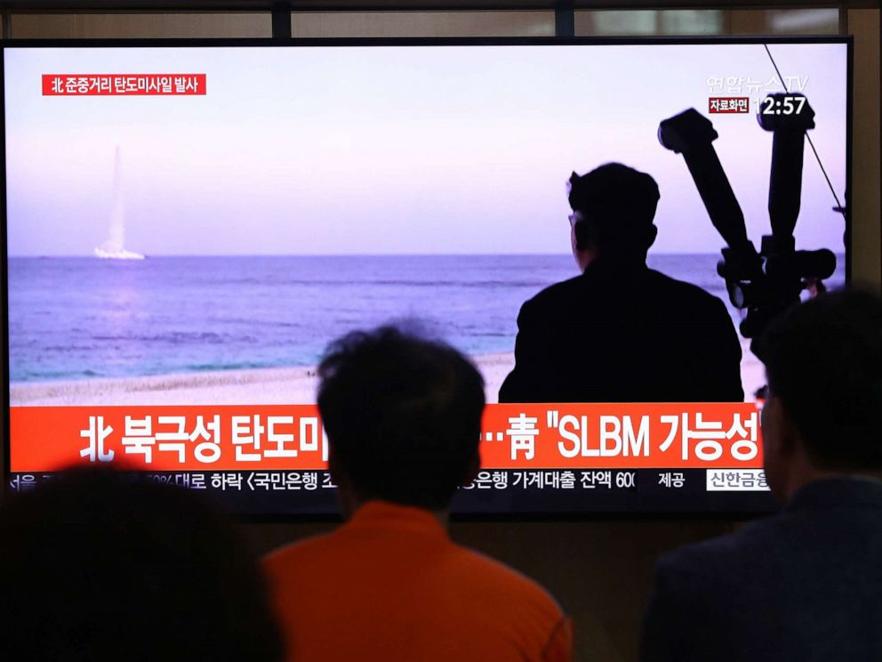PHOTO: People watch a TV showing a file image of a North Korean missile launch at the Seoul Railway Station on Oct. 2, 2019, in Seoul, South Korea.