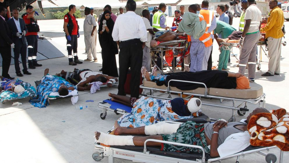 Critically wounded people in Mogadishu wait to be moved into a waiting Turkish plane to be airlifted for treatment to Turkey from Somalia, Oct. 16, 201, after a truck bomb attack left hundreds dead on Oct. 14.