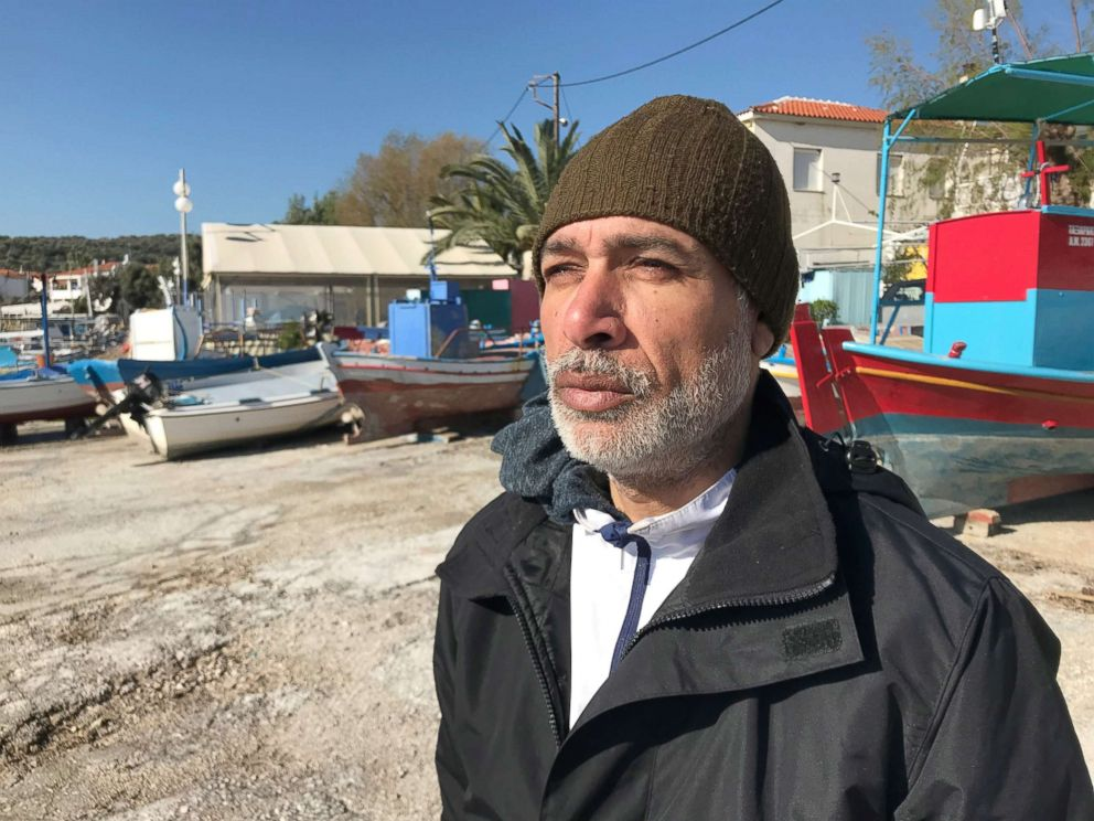 PHOTO: Mohammad Harb, a Palestinian from Syria, lives in a small tent in an olive grove, which serves as an informal refugee camp on the Greek island of Lesbos.