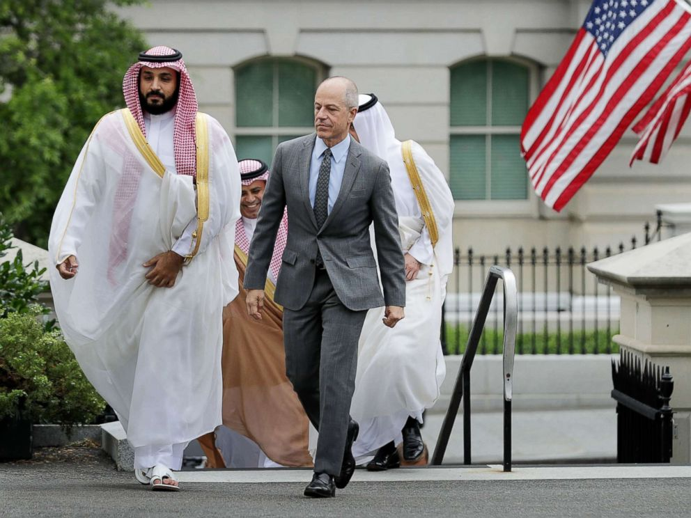 'PHOTO: Deputy Crown Prince and Minister of Defense Mohammed bin Salman of Saudi Arabia is escorted by U.S. Deputy Chief of Protocol Mark Walsh as they walk into in the White House on June 17, 2016 in Washington.' from the web at 'https://s.abcnews.com/images/International/mohammed-bin-salman-02-gty-jc-171120_4x3_992.jpg'