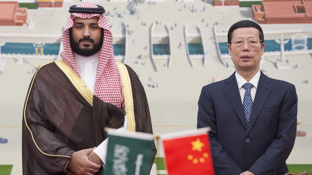 Saudi Defense Minister and Deputy Crown Prince Mohammed bin Salman and Vice Premier of China Zhang Gaoli pose for a photo after a China-Saudi Arabia High-Level Cooperation Council meeting in Beijing, China on Aug. 29, 2016.