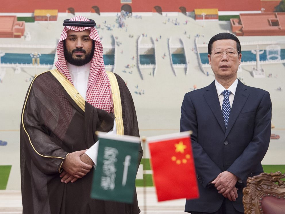 'PHOTO: Saudi Defense Minister and Deputy Crown Prince Mohammed bin Salman and Vice Premier of China Zhang Gaoli pose for a photo after a China-Saudi Arabia High-Level Cooperation Council meeting in Beijing, China on Aug. 29, 2016.' from the web at 'https://s.abcnews.com/images/International/mohammed-bin-salman-03-gty-jc-171120_4x3_992.jpg'