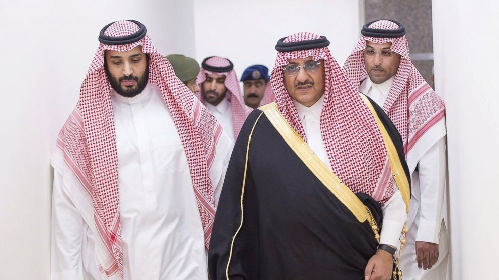 Saudi Arabia's Defense Minister Prince Mohammed bin Salman and Deputy Crown Prince and interior minister, Prince Mohammad bin Nayef, lead an operation against Houthi militants in Yemen, from the main command center in Riyadh, Saudi Arabia, March 26, 2015.