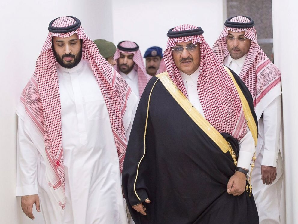 'PHOTO: Saudi Arabias Defense Minister Prince Mohammed bin Salman and Deputy Crown Prince and interior minister, Prince Mohammad bin Nayef, lead an operation against Houthi militants in Yemen, from Riyadh, Saudi Arabia, March 26, 2015.' from the web at 'https://s.abcnews.com/images/International/mohammed-bin-salman-04-ap-jc-171120_4x3_992.jpg'