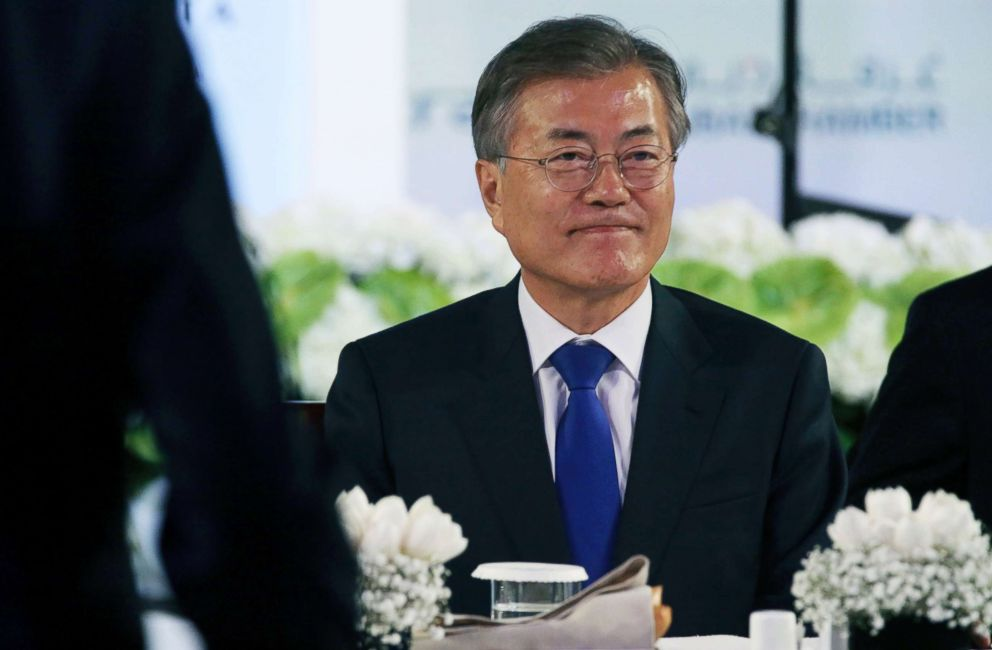 PHOTO: South Korean President Moon Jae-in attends a luncheon in Dubai, United Arab Emirates, March 27, 2018.