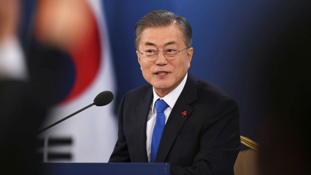 South Korean President Moon Jae-in holds his New Year press conference at the presidential Blue House in Seoul, Jan. 10, 2019.