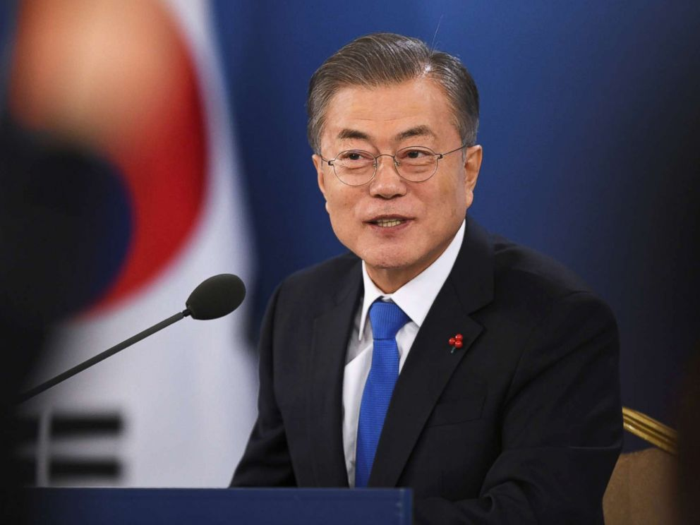 PHOTO: South Korean President Moon Jae-in holds his New Year press conference at the presidential Blue House in Seoul, Jan. 10, 2019.
