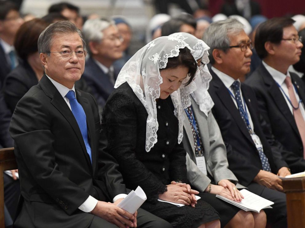 PHOTO: South Korean President Moon Jae-in attended a special mass for peace on the Korean Peninsula celebrated by Vaticans secretary of state Pietro Parolin at St. Peters Basilica in the Vatican, Oct. 17, 2018, in Rome.
