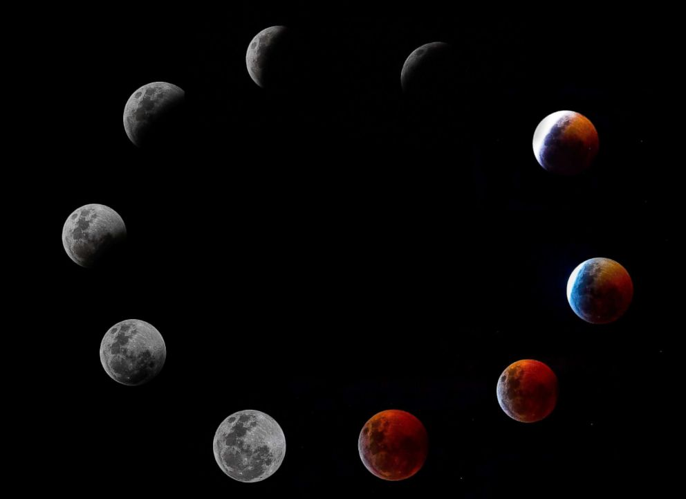 PHOTO: A composite photo shows all the phases of Super Blood Wolf Moon total lunar eclipse, Jan. 20, 2019 in Panama City.