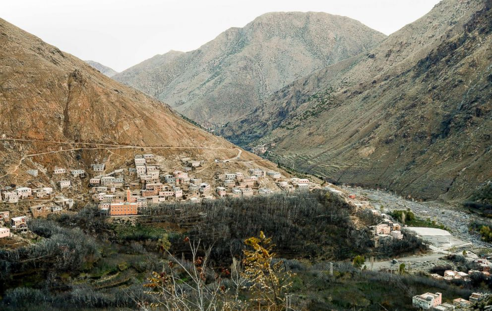PHOTO: The remote village of Imlil nestled on the slopes of the Atlas mountains in Morocco, Dec. 20, 2018, about six miles from the spot where the bodies of two Scandinavian women were found.