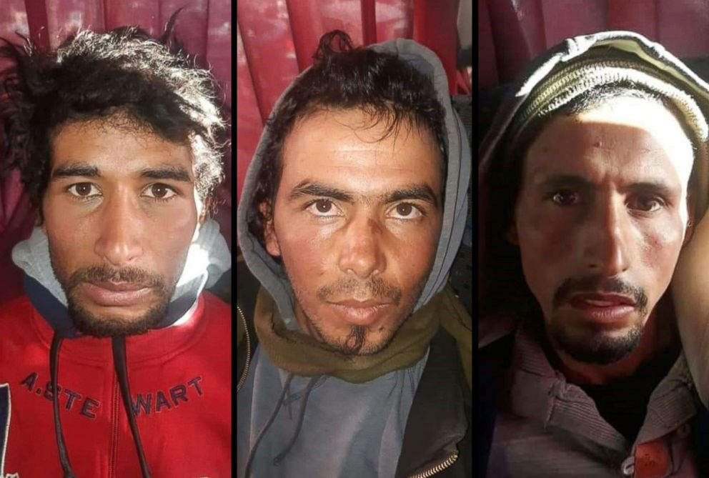 PHOTO: This combination image shows, from left, Rachid Afatti, Ouziad Younes, and Ejjoud Abdessamad, the three suspects in the murder of two Scandinavian hikers whose bodies were found at a camp in Moroccos High Atlas mountains, following their arrest.