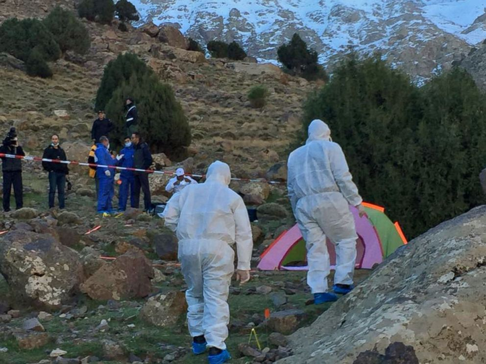 PHOTO: An image grab taken from a video broadcast on Moroccos news channel 2M on Dec. 18, 2018 shows police officers next to a tent at the scene of a crime where the bodies of two Scandinavian women were found the day before.