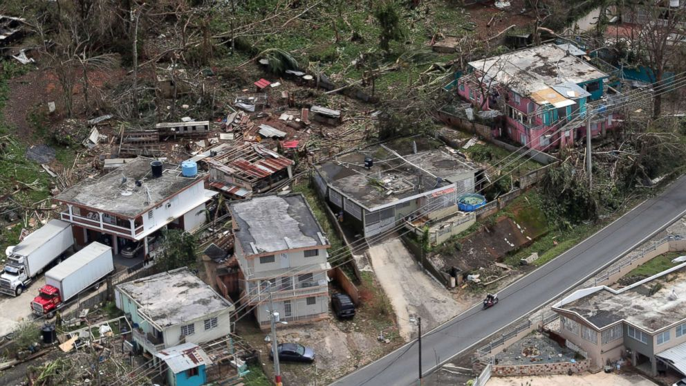In this file photo, an aerial image showing the damage done to the Morovis area of Puerto Rico three days after hurricane Maria passed through the island on Sept. 20, 2017.