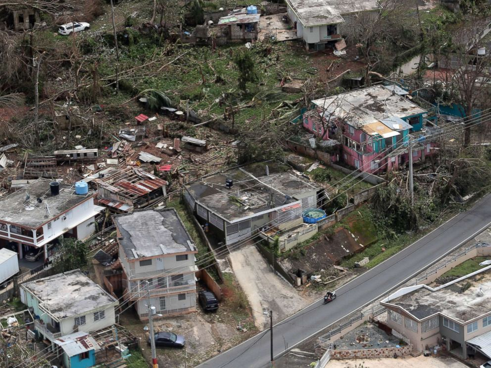 PHOTO: In this file photo, an aerial image showing the damage done to the Morovis area of Puerto Rico three days after hurricane Maria passed through the island on Sept. 20, 2017.