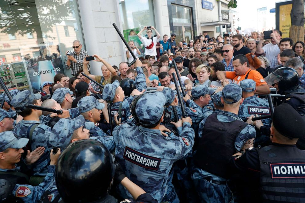 PHOTO: Protesters clash with police during an unsanctioned rally in the center of Moscow, Russia, Saturday, July 27, 2019.