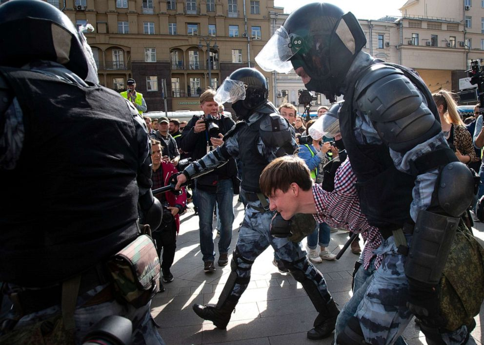 PHOTO: Police officers detain a protestor, during an unsanctioned rally in the center of Moscow, Russia, Aug. 3, 2019.