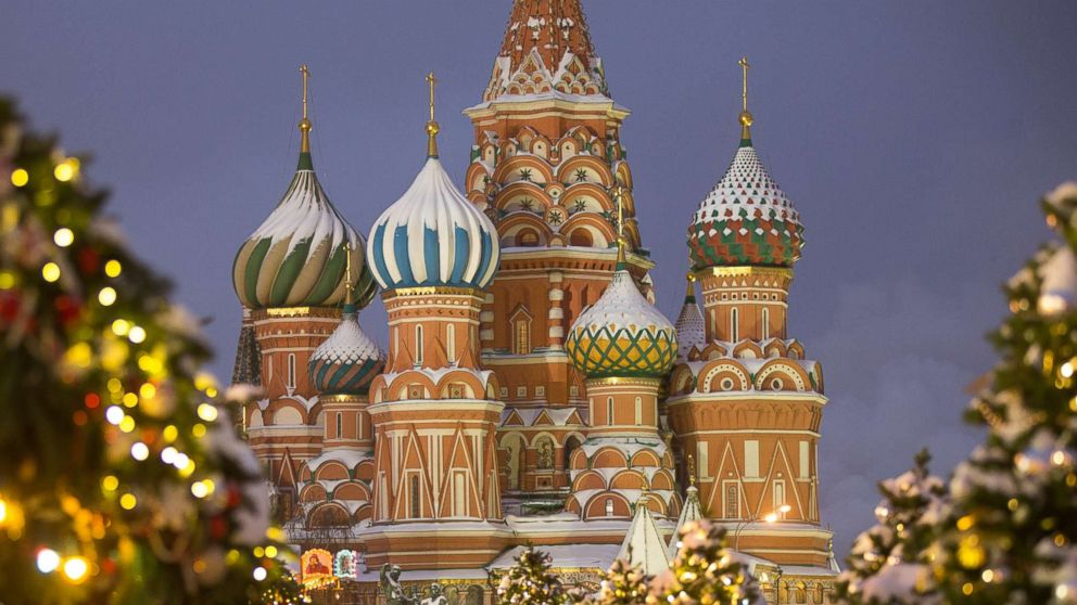 St. Basil's Cathedral stands among holiday decorations on Red Square in Moscow, on Dec. 27, 2018.