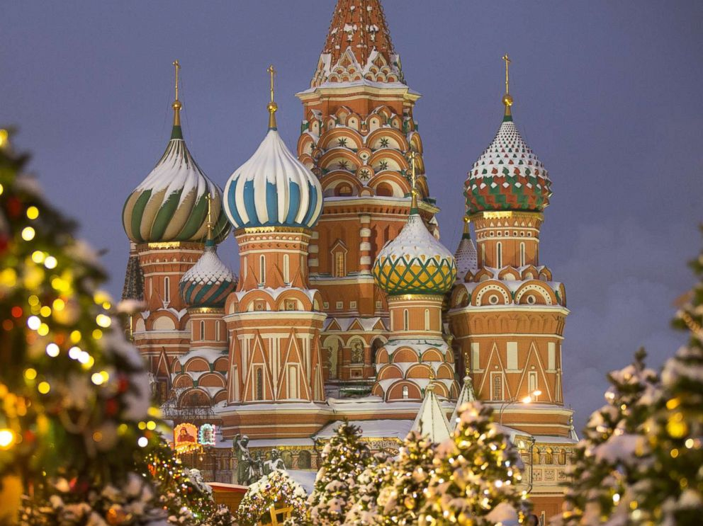 PHOTO: St. Basils Cathedral stands among holiday decorations on Red Square in Moscow, on Dec. 27, 2018.
