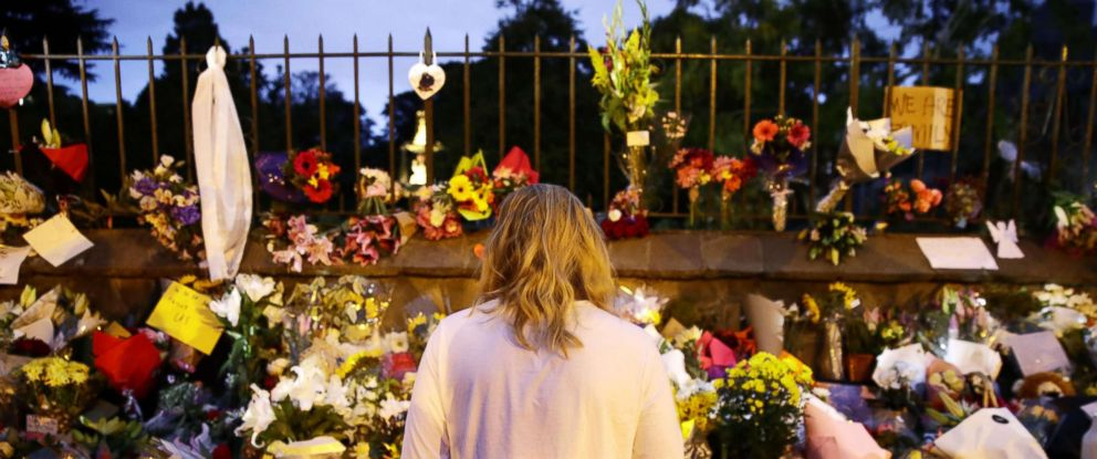 PHOTO: A woman visits a makeshift memorial in Christchurch, New Zealand, March 16, 2019, for the victims of a mass shooting at two local mosques the previous day.