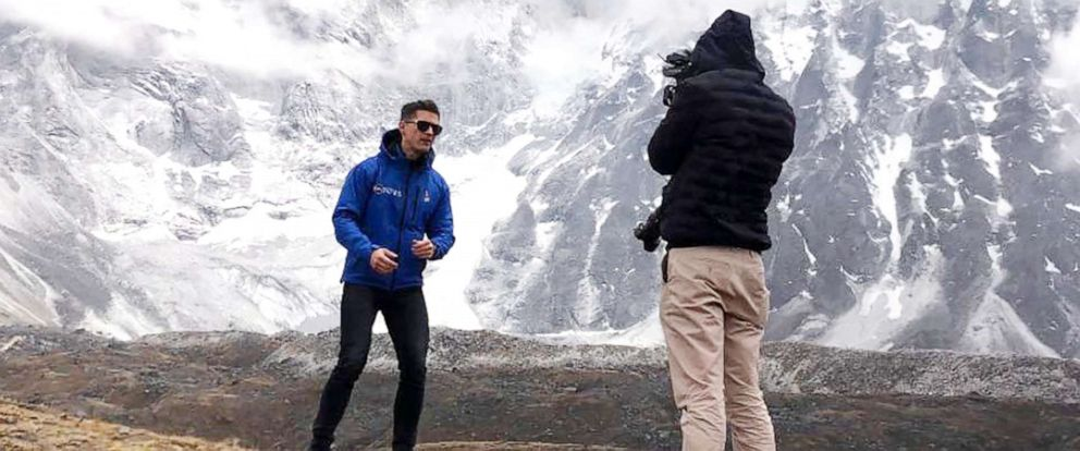PHOTO: ABC News James Longman reports from the Himalayan mountains, near Mount Everest base camp, on May 30, 2019.