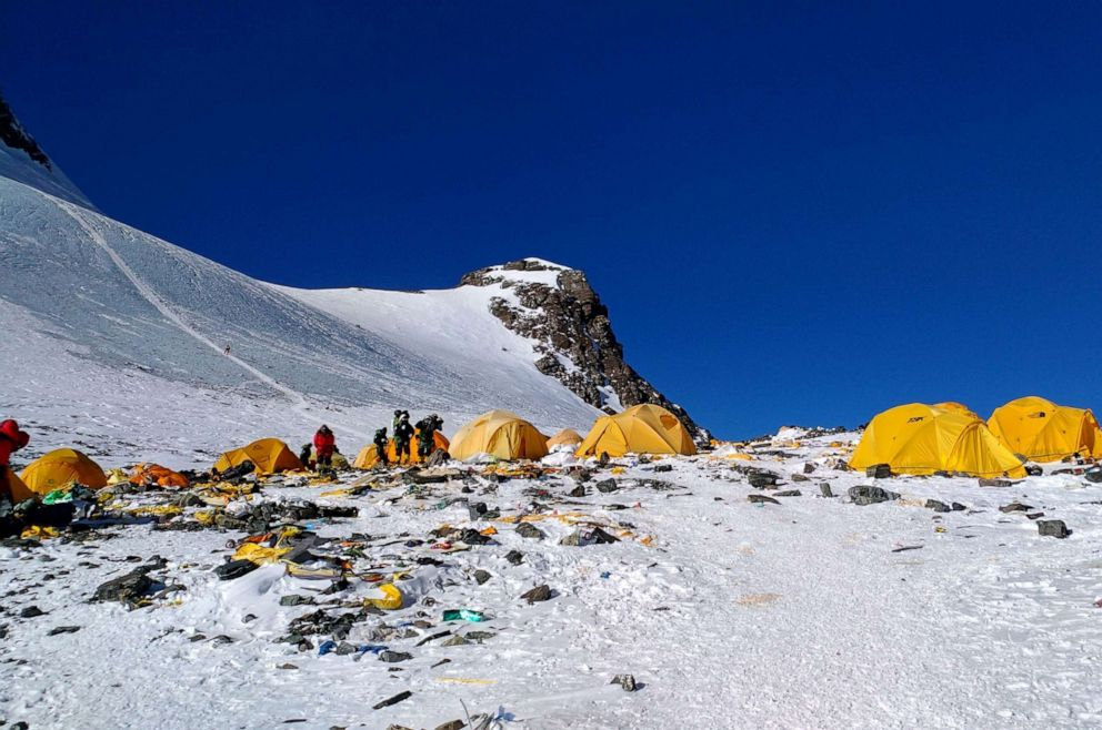 PHOTO: Discarded climbing equipment and rubbish scattered around Camp 4 of Mount Everest, May 21, 2018.