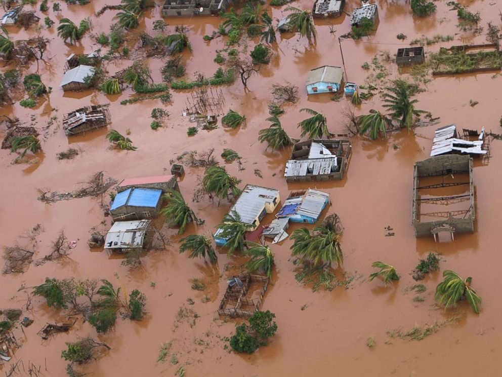 PHOTO: A picture shows houses in a flooded area of Buzi, central Mozambique, March 20, 2019, after the passage of cyclone Idai.